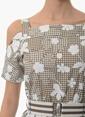 Network Askılı Omuzları Açık Mini Elbise Vizon